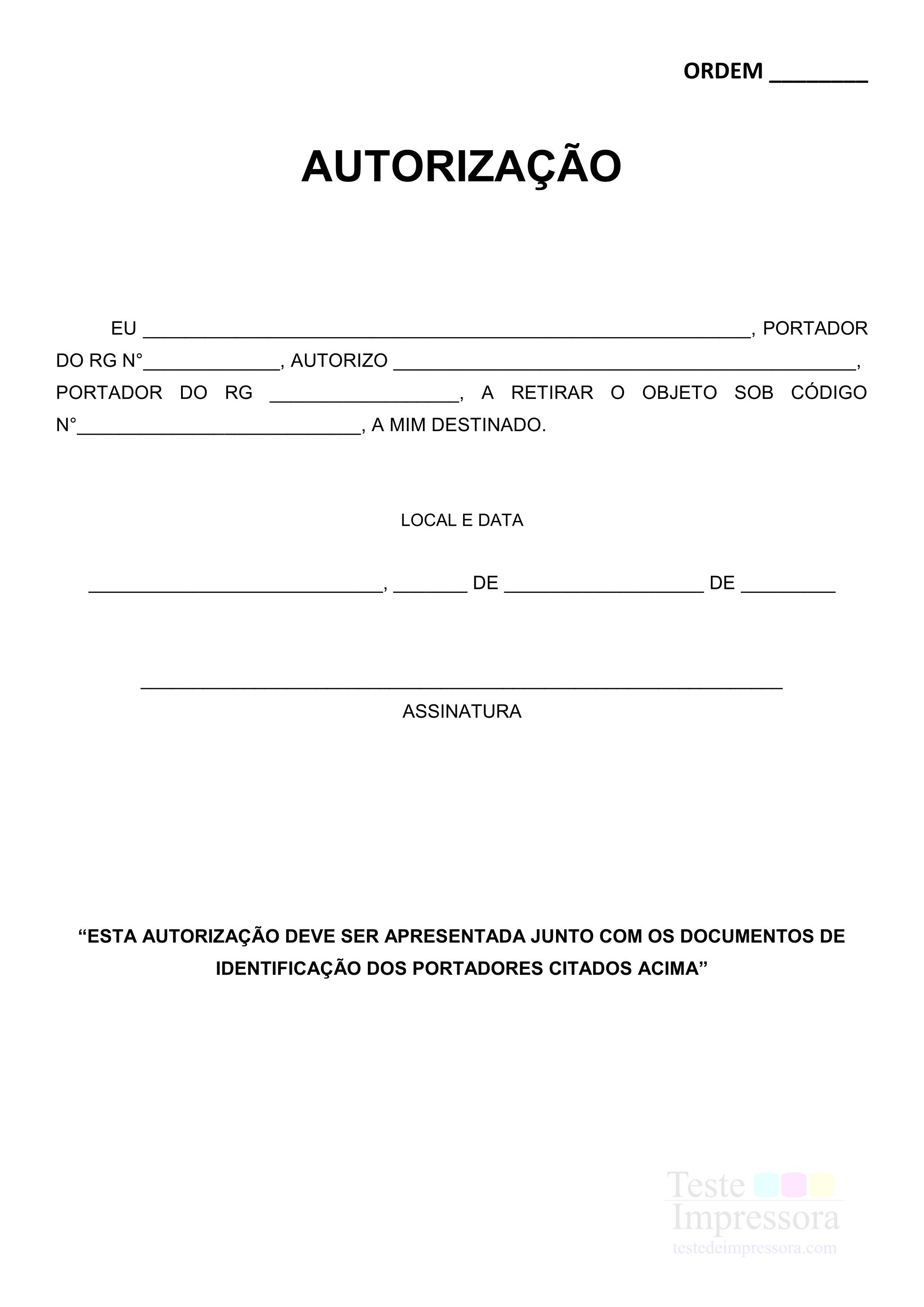 Autorização de retirada correios PDF.